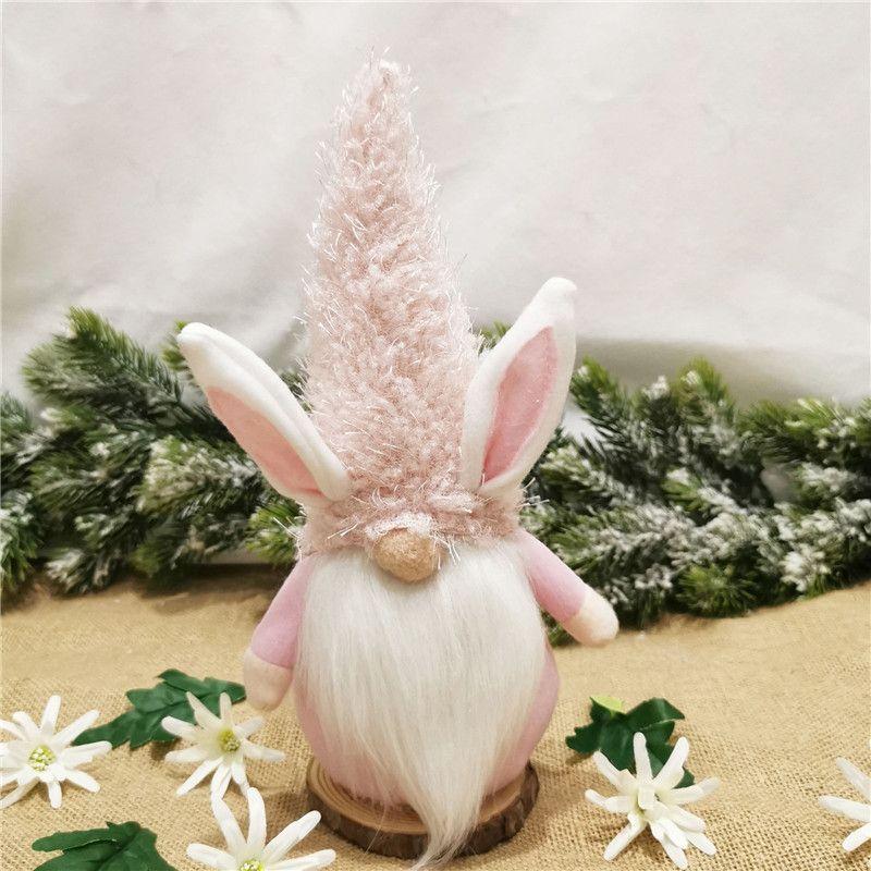 أرنب الفصح الأرنب gnome الوردي الوردي الأحمر الأحمر السويدية tomte أرنب أفخم لعب مستعدي الأرنب القزم دمية عيد الفصح الاطفال هدية KKA3491