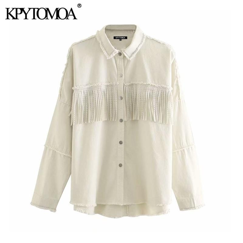 KPytomoa mulheres moda com prisionos franjas enorme jaqueta jaqueta casaco vintage manga longa desgastado feminino outerwear chique tops 201120
