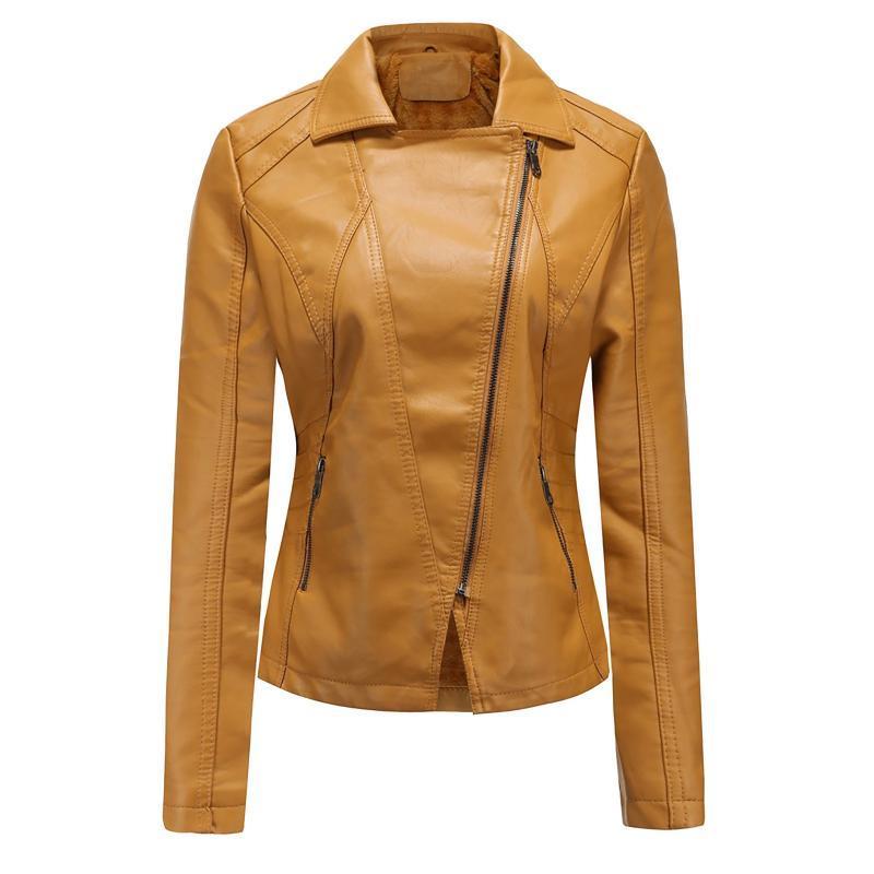 Jaquetas femininas outono Mulheres Mulheres Faux couro Casual Solto PU Motocicleta Punk Coat Feminino Zipper Rebite Rebite Casacos Outerwear