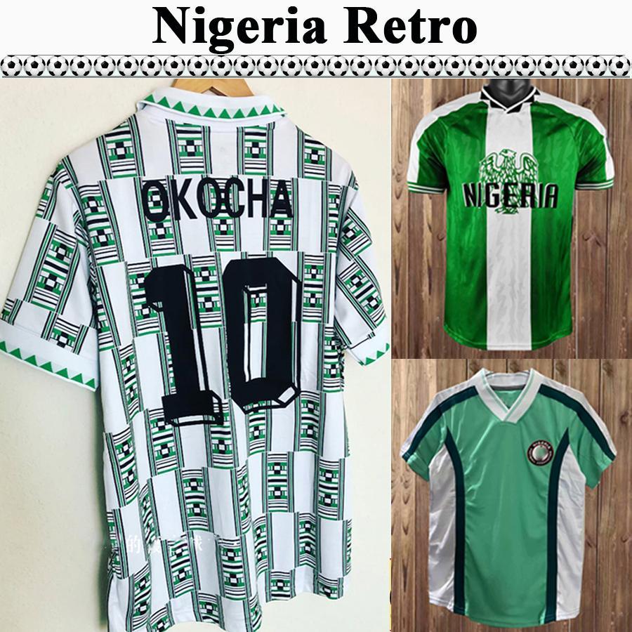 1994 OKOCHA FINIIDI MENS RETRO SOCCER JERSEYS 1996 1998 Équipe nationale Accueil Vert Blanc Chemise de football Blanche Adulte manches courtes