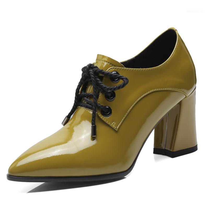 Zapatos de vestir de cuero de otoño Brock de cuero de las mujeres puntiagudo grueso tacones altos tobillos botines cruzados Casual Office Chapetter Zapatillas Mujer 7,5cm1
