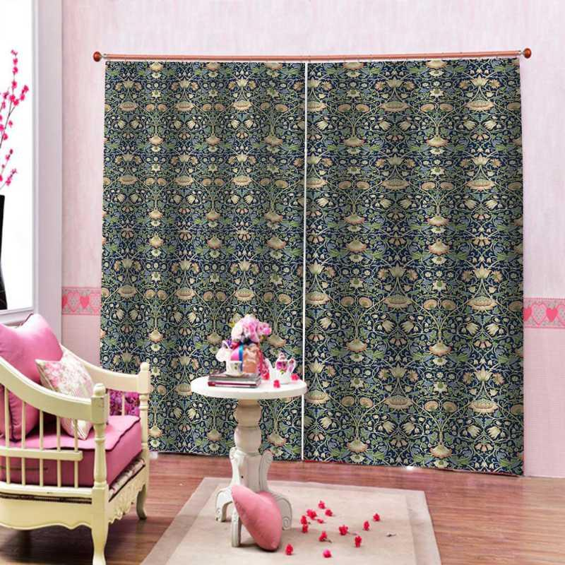 Modern Brief Photo Curtains 3D Living Room Bedroom Curtain Drapes Bohemia Style Window Drapes