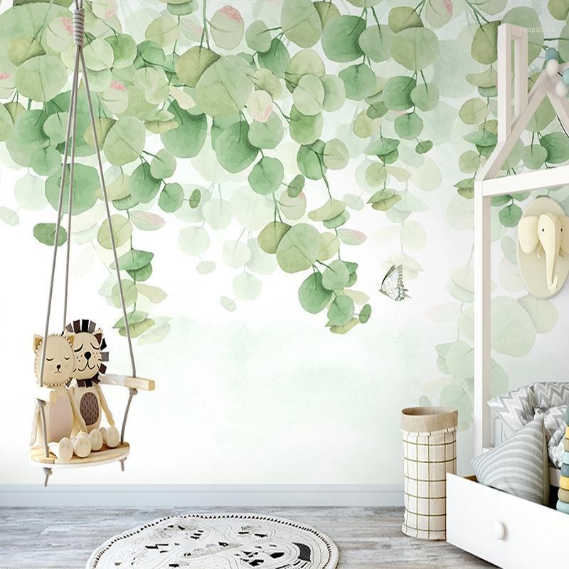 Papier peint mural 3D personnalisé peint à la main peinture à la main de la feuille de feuille de feuilles de la feuille de salon à la maison Décoration de la maison Papel de parede1