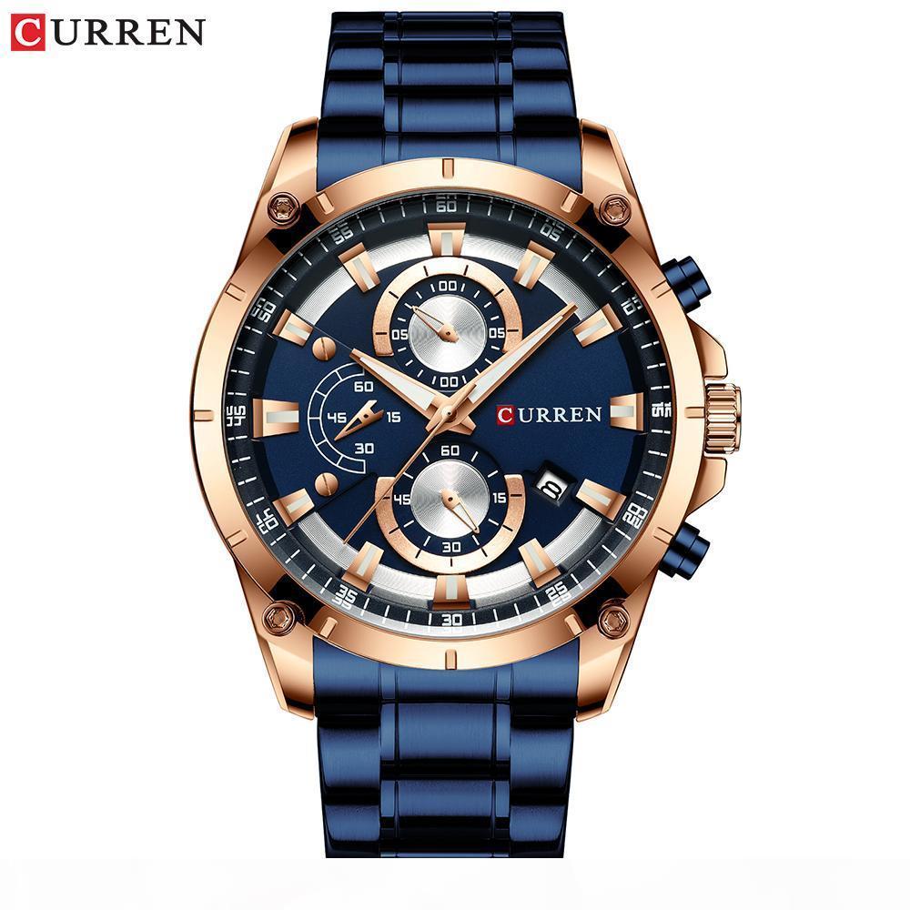 Curren Creative Design Montres Hommes Luxury Quartz Montre-Bracelet avec chronographe en acier inoxydable Montre Sport Homme Horloge Relojes