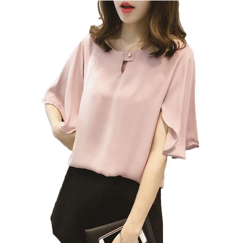 Плюс размер рубашки batwing рукав блузки свободные o шеи случайные блюса женские топы с коротким рукавом летом1