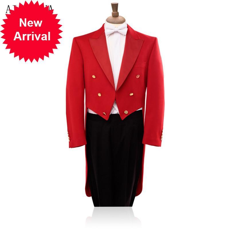 Hochwertiges langschwanziges Kleid Herbst Red Smoking Black Anzug Mode Show Custom Jacke und Hosen