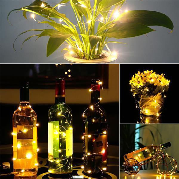 YENI 2 M 20 LED Mini Şişe Stoper Lamba Dize Bar Dekorasyon Dize Işık Sıcak Beyaz Işık Toprak Sarı Üst dereceli Malzeme LED Dizeleri