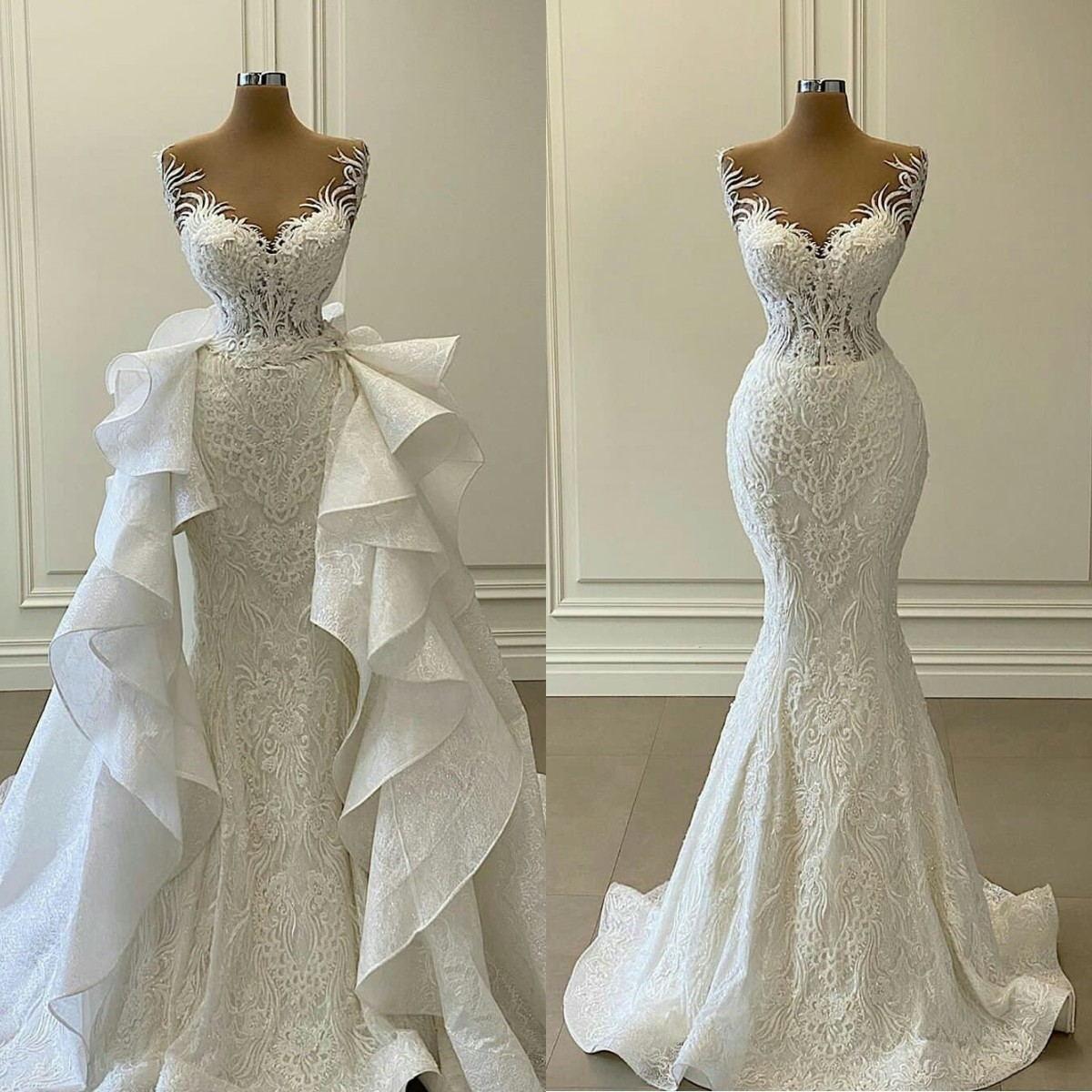 2021 Weiße Meerjungfrau Brautkleider mit abnehmbaren Zug Rüschen Spitze Applizierte Brautkleider plus Größe Vestidos de Novia