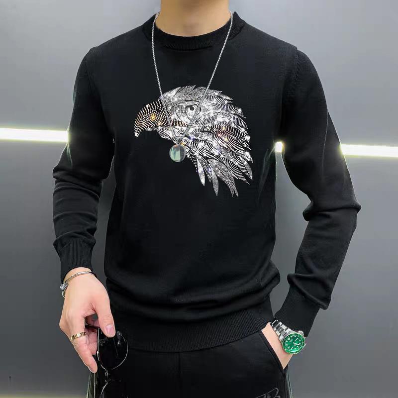 2autumn et hiver Nouvelle impression longue à manches longues de haute qualité Homme de diamant chaude pull de mode pull de mode tricoté top chaud 5xl