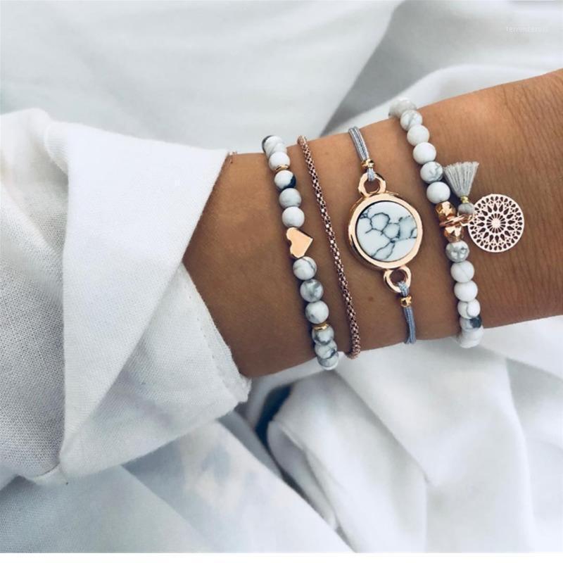 Trendy Heart Beaded Tassel Pattern Stone Braided Bracelets & Bangles For Women Fashion Golden Link Chain Bracelets Boho Bijoux1