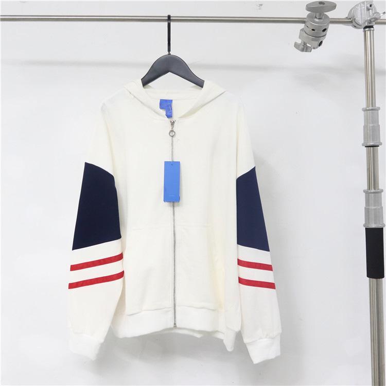 Männer Frauen Casual langärmeliger gestreifter Modebrief Drucksportjacke Nähen Zipper Pullover # 0095
