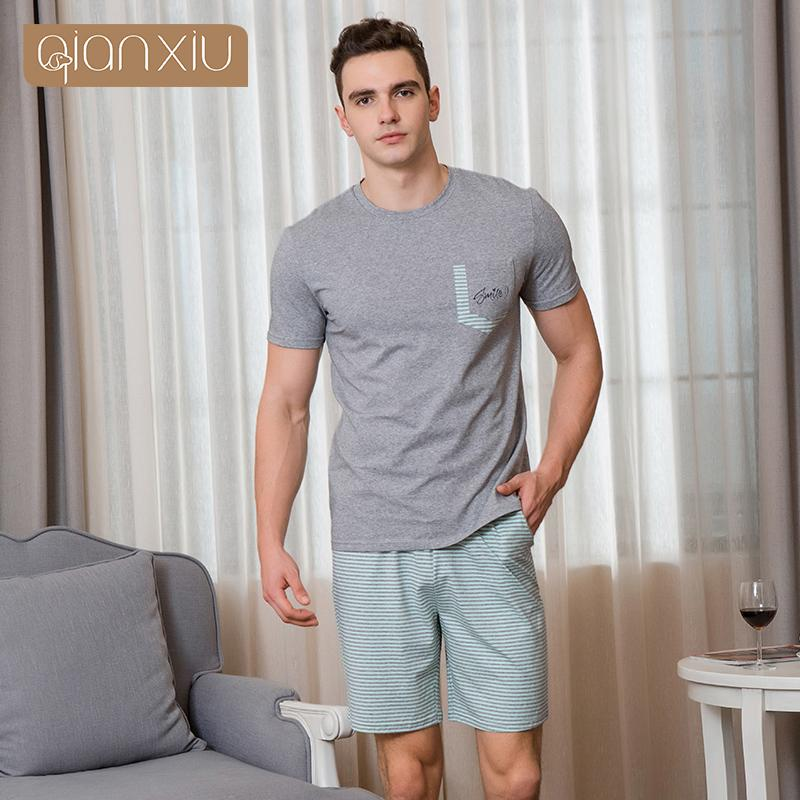 Qianxiu Männer Neue kurzärmlige Baumwolle Pyjamas Massivfarbe Gestreifter Beiläufiger Tragen Heißer Verkauf 1890 Q1202