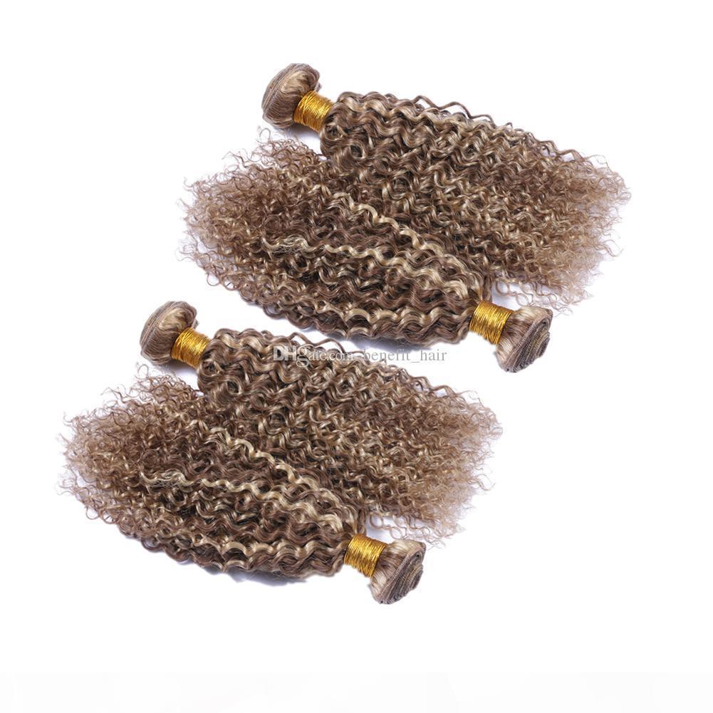 Piano mezcla de color # 8 # 613 rizado rizado trama del pelo marrón medio pelo rubio y extensiones 10-30 pulgadas de Malasia humano de la Virgen de lotes 4 piezas de pelo
