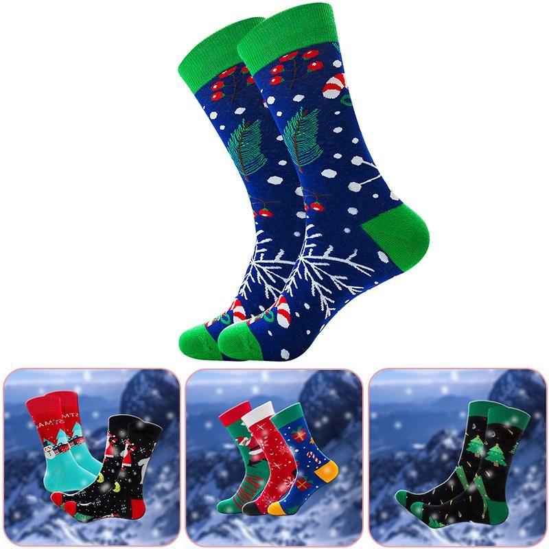 Chaussettes pour hommes 2021 hommes de Noël hommes drôles santa claus arbre neige elk coton heureux harajuku mode occasionnel