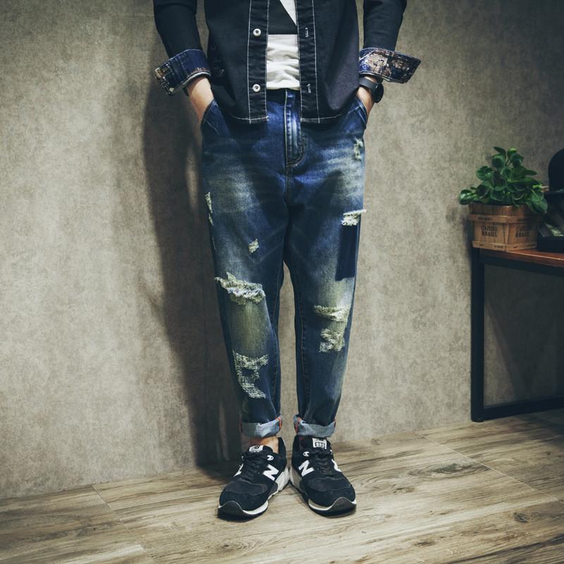 Camourflage Harem Pantolon 2020 Yeni Bahar Yaz Sonbahar Gevşek Baskı Yıkanmış Delikler Yırtık Sıkıntılı Denim Pantolon Streetwear