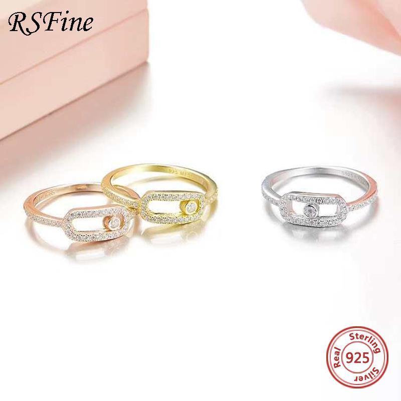 925 Sterling Silber Messika Ring Inline Kristall Diamantaktivität Bead Temperament Paar Feine berühmte Marke Schmuck Großhandel Y1119