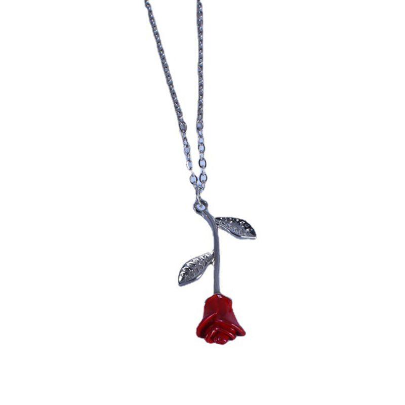 رومانسية ردة حمراء قلادة قلادة عيد الحب هدية الأزياء القلائد لصديقة مصمم النساء مجوهرات اكسسوارات