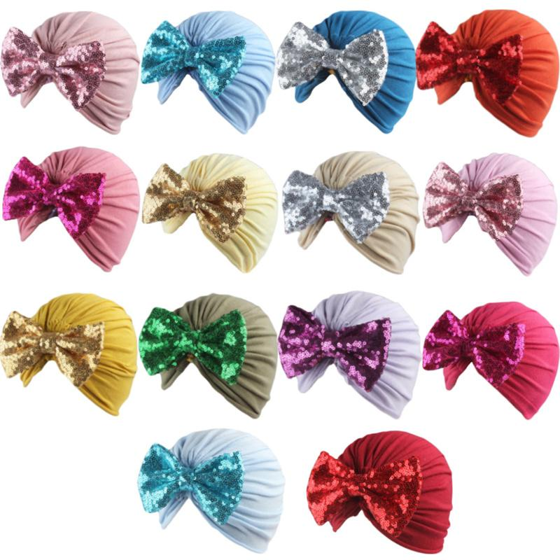 Baby Girls Boys Bowknot Turban Hats Glitter Bling Bows Elastic Headband Infant Headwrap Beanies Stretchy Hair Band Hair Accessories G10506