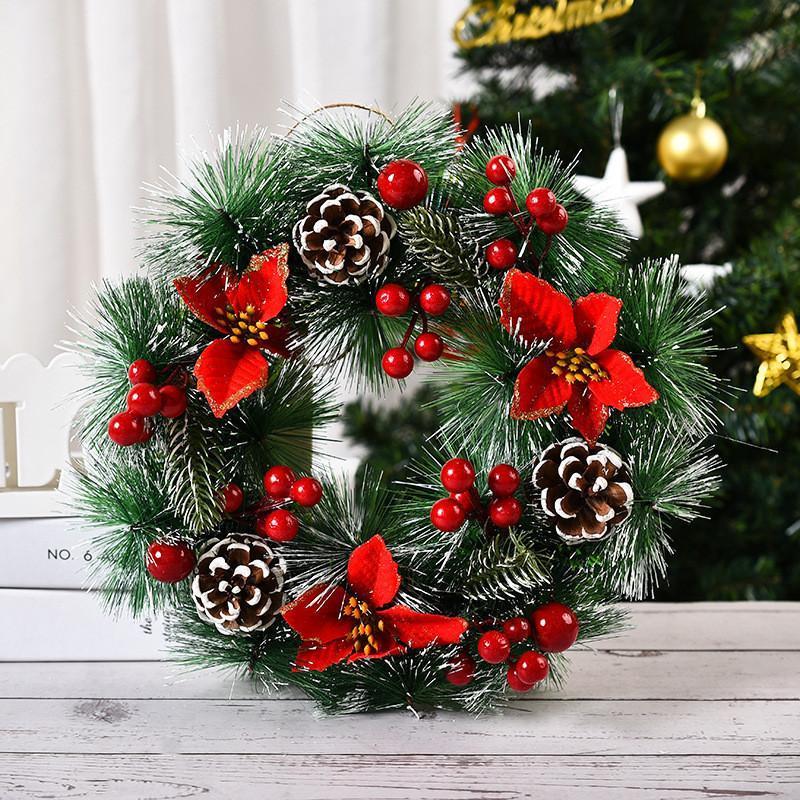 Noel Süslemeleri 2021 Çelenk Berry Ön Kapı Asılı Garland Kolye Tatil Ev Dekor Damla