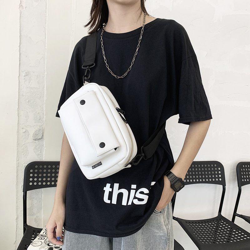 Leather Sports Chest Bag Solid Color Adjustable Shoulder Strap Unisex Travel Messenger Bags Casual Men Crossbody Pouch Q1221