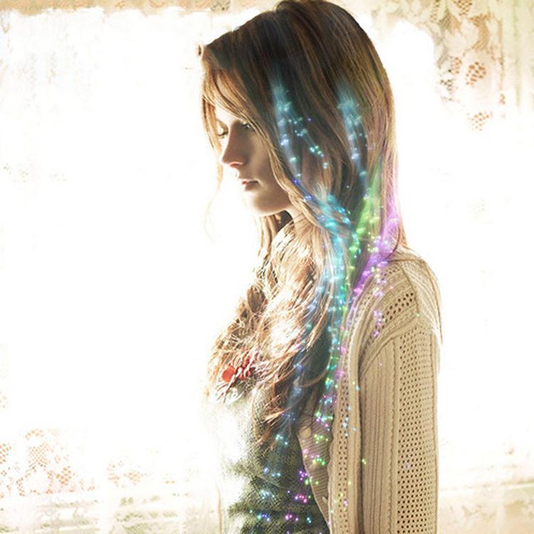 LED Flash-Zopf Frauen Bunte leuchtende Haarklammern Barrette Faser Haarnadel Beleuchtet Party Bar Nacht Weihnachten Spielzeug Dekor Ewf4897