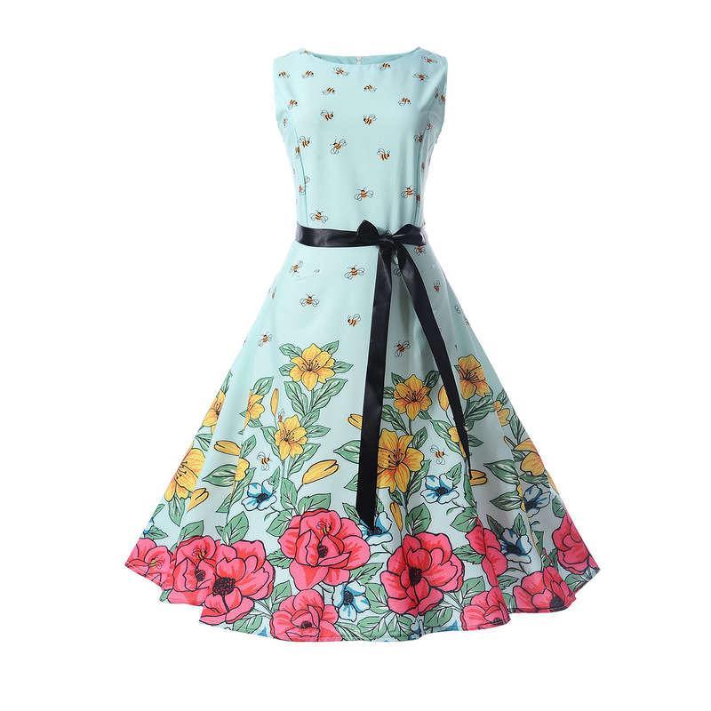 Позиционирование цветок Hepburn Style 50s пояса тонкий качели платье с поясом 5