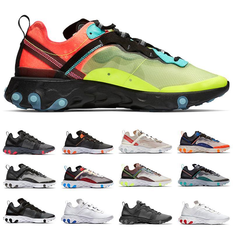 87 React Element 55 Sneakers Men Sport Chaussures de course Hommes Baskets Volt Core Noir Noir Solaire Rouge Total Orange Sports Sneaker Taille 36-45