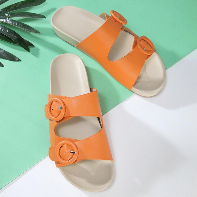Women's Summer Slippers Ladies Fats Flip Flops Pu Female Buckle Beach Sandals Casual Comfort Shoes Woman Platform Plus Size 2021 J1205