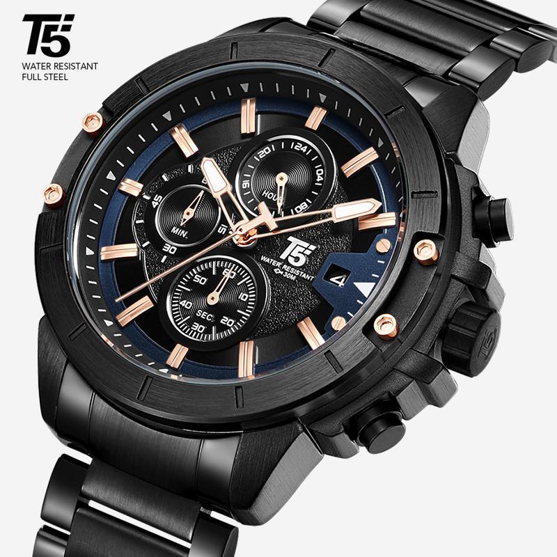 ساعة رجالية فاخرة، ساعة كوارتز، ماء، فولاذ T5 H3636