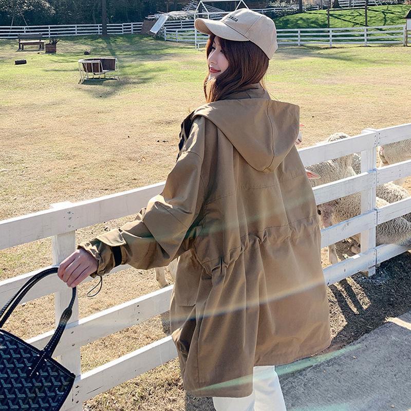 New Khaki Windbreaker Women's Fashion Midi