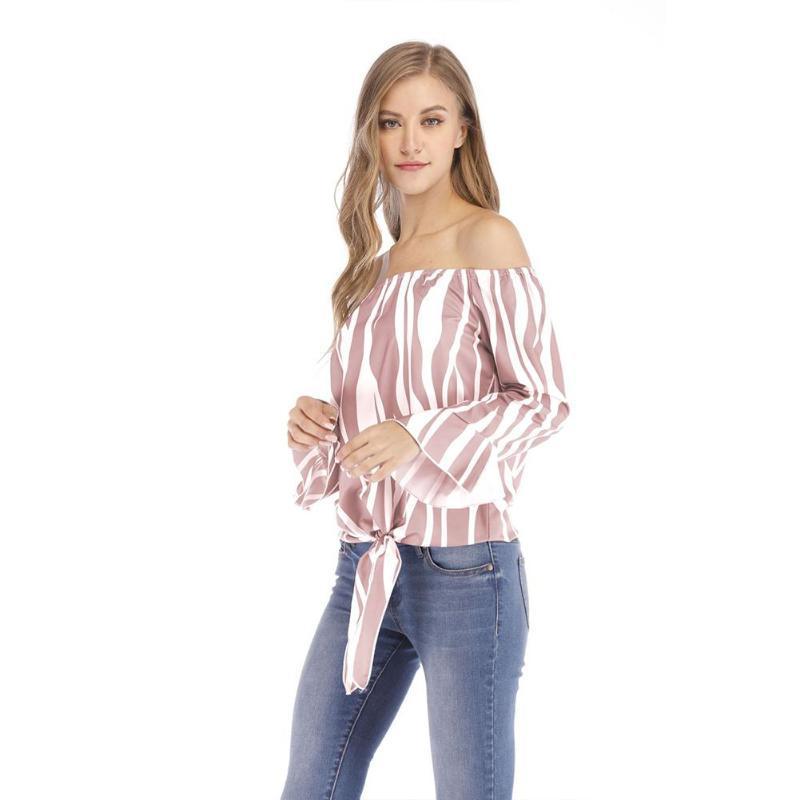 Camisas de la mujer Missky Europa y American Flare Sleeve Irregular Blusa de rayas Camisa de manga larga Mujer Tops NUEVO