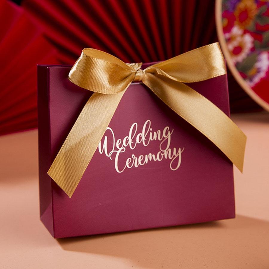 10 قطع هدية حقيبة ورقة مع الشريط bowknot ل حفل زفاف استحمام الطفل عيد الميلاد حزب الحلوى الشوكولاته أكياس الكوكيز
