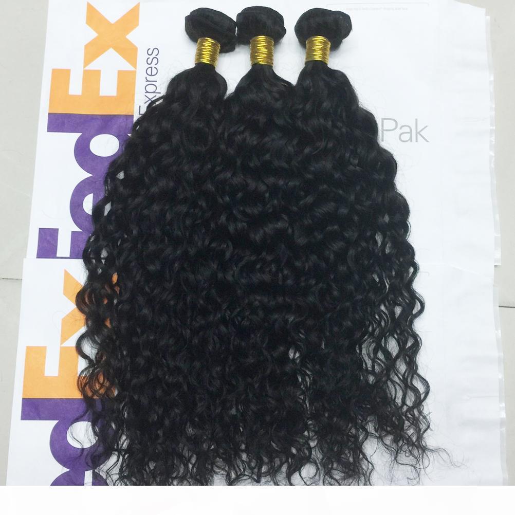 Großhandel 10bundles los 8A Virgin Brasilianische Wasserwelle Gelockte Haare Gewebe 1b Natürlicher schwarzer menschlicher Remy Haar Schuss für schwarze Frauen Forwme