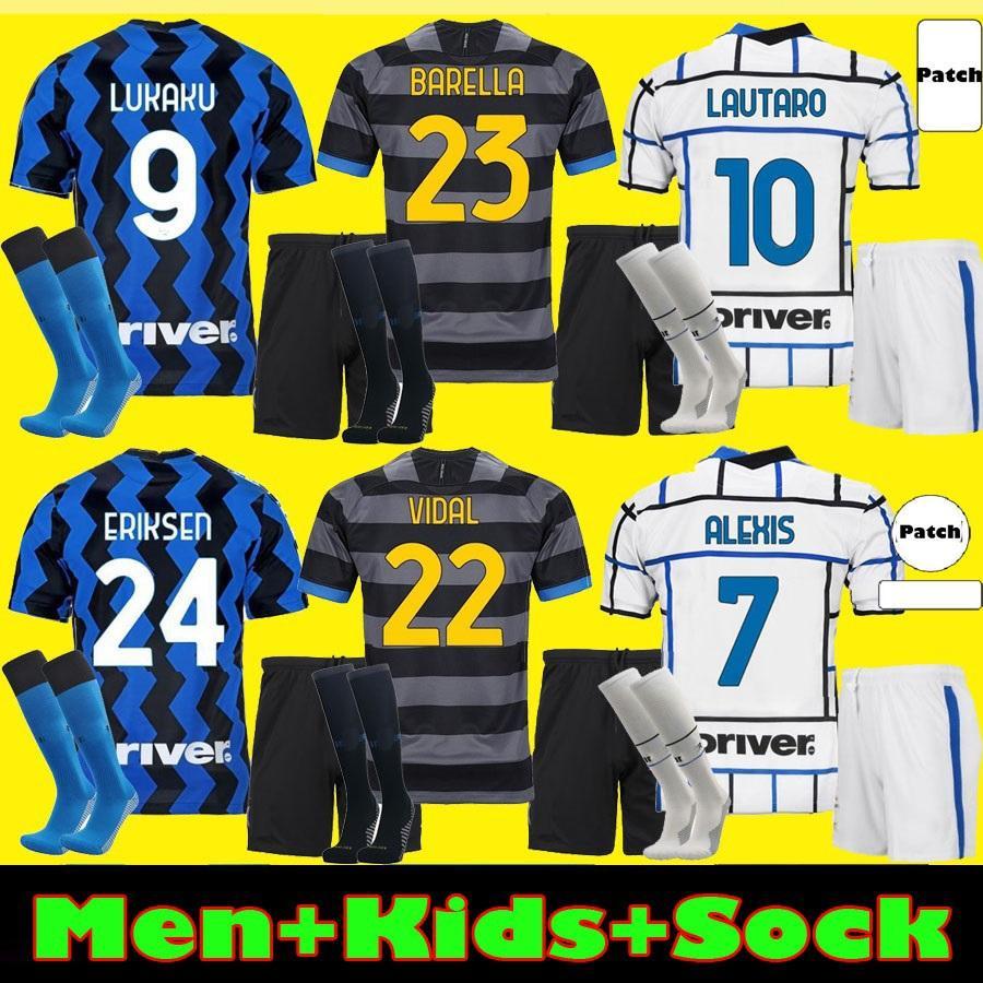 Homens Kit Kit Kit Barella Soccer Jersey Lukaku Vidal Lautaro Eriksen Alexis 20 21 de Vrij Camisa de Futebol 2020 2021 Hakimi Uniformes