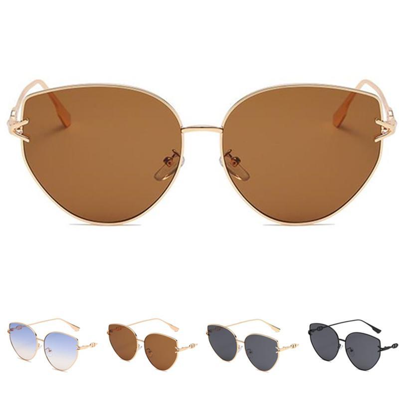 Legierungsfrauen Mode Männer Auge Sonnenrahmen Adumbral Katze Glases Sonnenbrille Brillen Anti-UV-Brille Einfachheit Eyewear A ++ Texqo