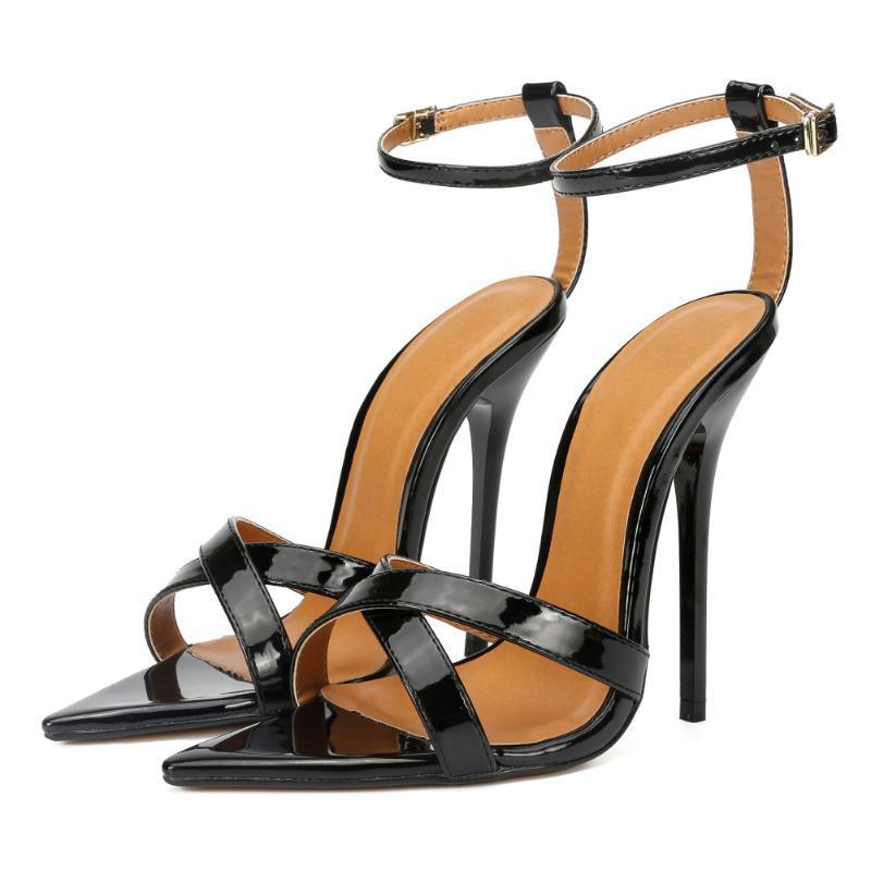Sandali Plus Size 38-48 tacchi alti estremi 13 cm punta sexy tacco sottile sexy fetish sm commendatore croce gay scarpe unisex
