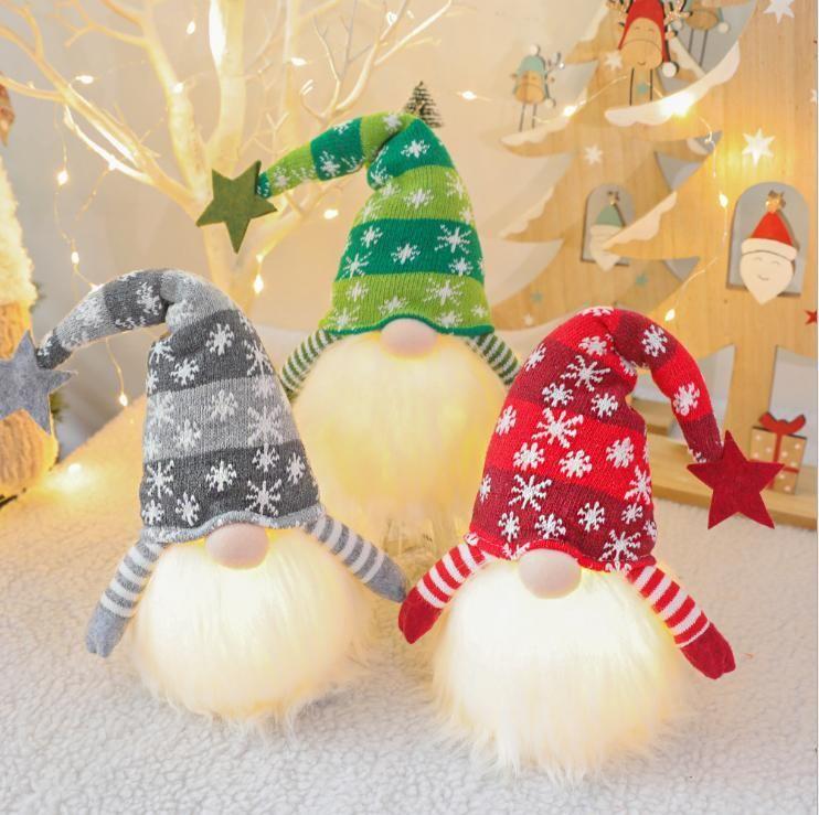 DHL рождественские карликовые украшения ручной работы GNOME со светодиодным светлым декором шляпа Santa плюшевые куклы праздник домашний стол OWD2871