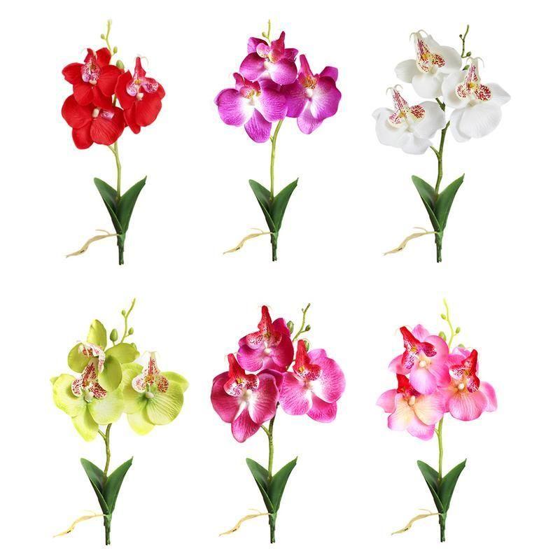 Triple Artificial Plastic Orchid Silk Flower Home Mini Phalaenopsis Simulación Plantas Party Decoration Boda
