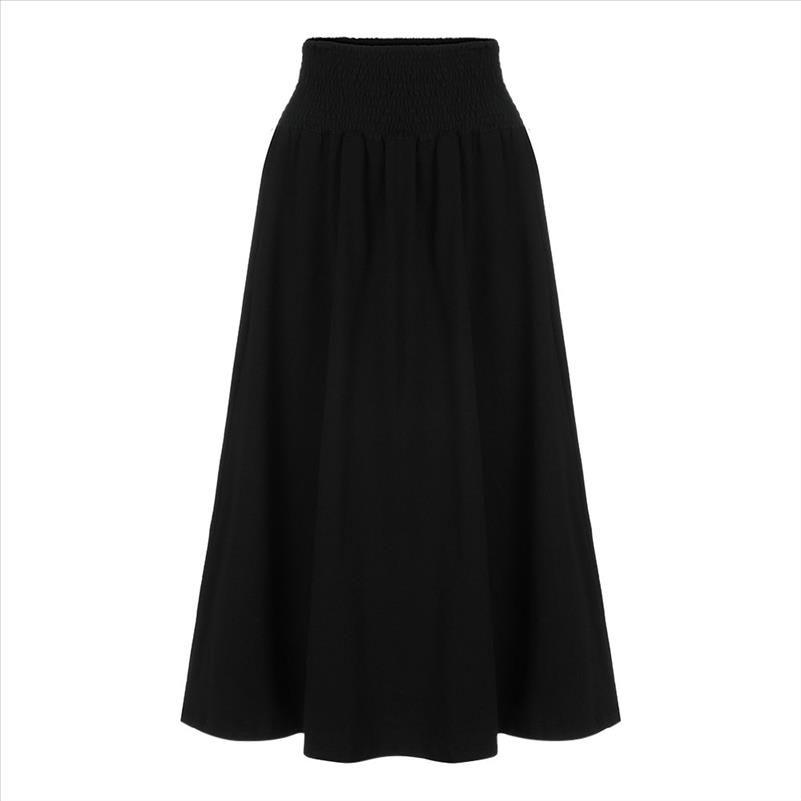 Mujeres Moda Summer Faldas de verano Cintura Elástica Falda Plisada Sólida Partido Diario Playa Casual Vintage Una línea Faldas Largas Largas