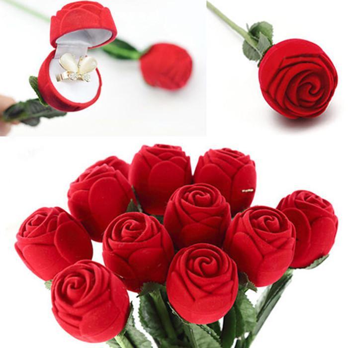 Rose Rose Velvet Velvet Bague Bague Boucles d'oreilles Dispositif De Stockage Pendentifs Bijoux Boîte Cadeau Saint Valentin Jour Anniversaire Cadeaux YHM794