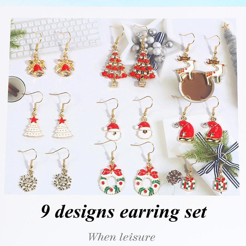 Boucles d'oreilles de Noël Set Mode Père Noël Bonhomme de neige bel arbre de Noël de Bell bijoux faits à la main Boucles d'oreilles Xmas Party cadeaux Pendentif LLS7