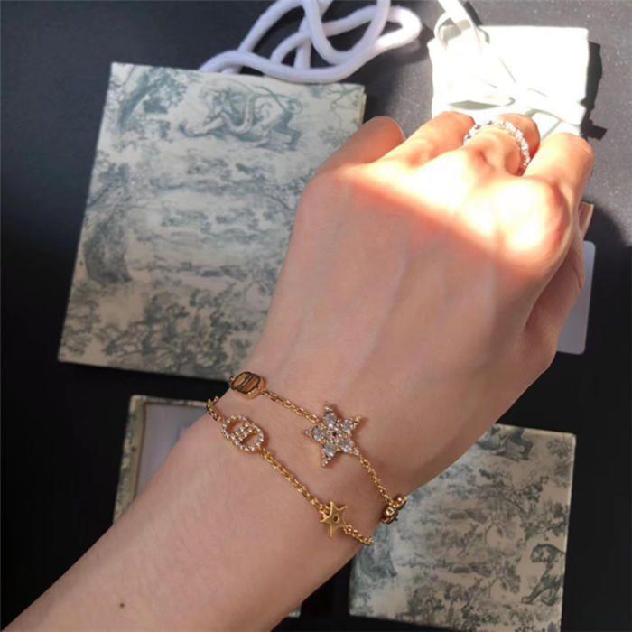2020 Seiko Высокая версия Новый двухсекционный браслет из пятиконечной звезды Женская золотая буква водяной кирпичный браслет