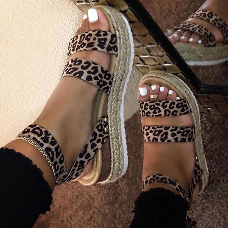 Kadın Sandalet Leopar Retro Kenevir Düz Platformu Bayanlar Yaz Takozlar Ayakkabı Kadın Rahat Toka Kayış Bayan Artı Boyutu Kadın