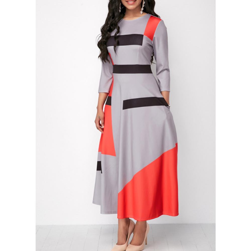 Летнее осень платье женщины 2020 повседневная плюс размер тонкий полосатый мяч платья Maxi платья элегантное сексуальное пэчворк длинное вечеринка платье 5XL T200623