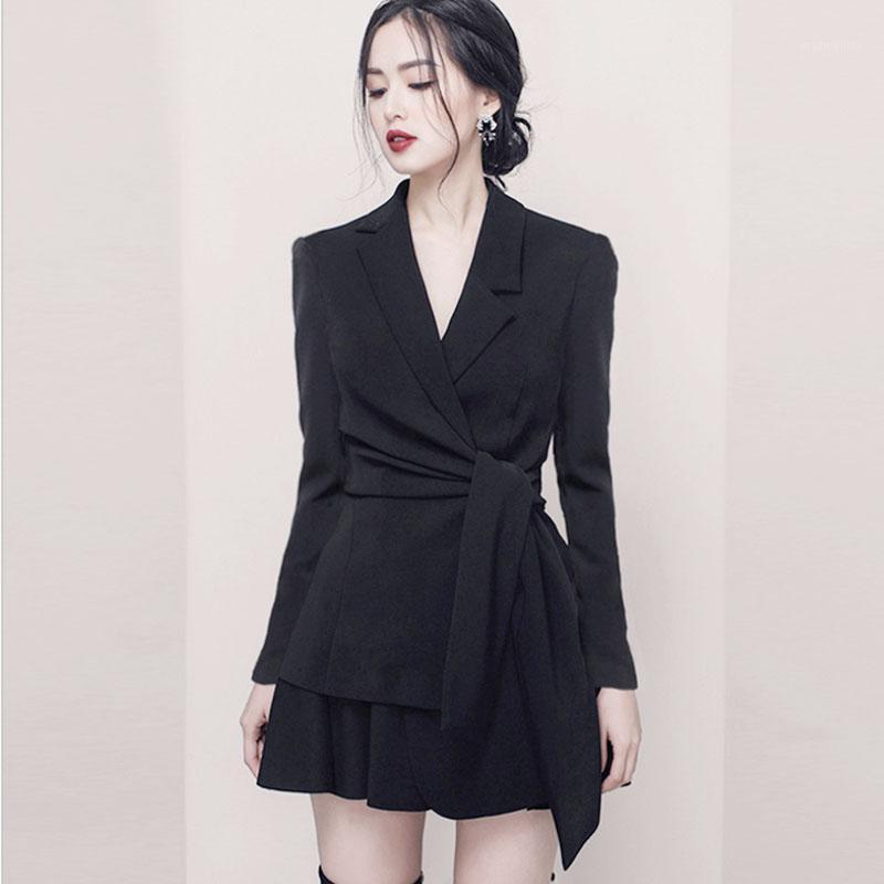 Vestido de dos piezas elegante otoño invierno manga larga arco se adapta a las mujeres de dos piezas con set de la falda roja y negra hembra1