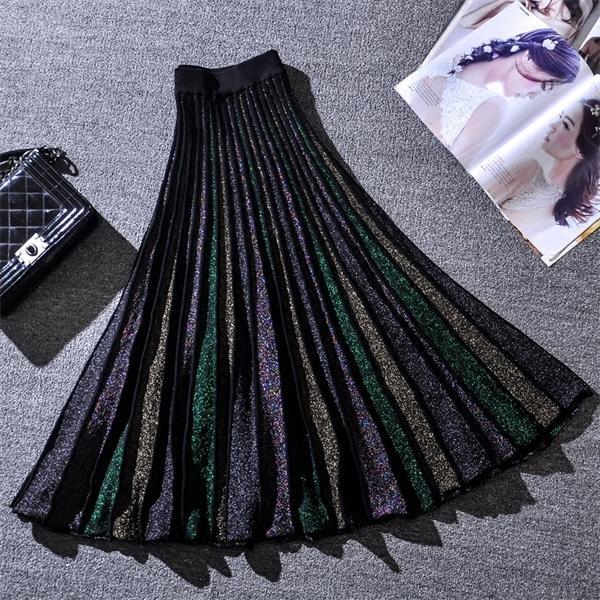 Zarif Pileli Etek Kadınlar 2019 Bahar Glitter Örme Midi Etekler Kadın Bling A-Line Kazak Uzun Etek Lady Retro Parlak Etek Q1209