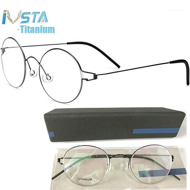 Ivsta parafusos parafusos óculos de titânio homens 98607 com caixa de logotipo prescrição mulheres redonda miopia quadro óptico Dinamarca korean1