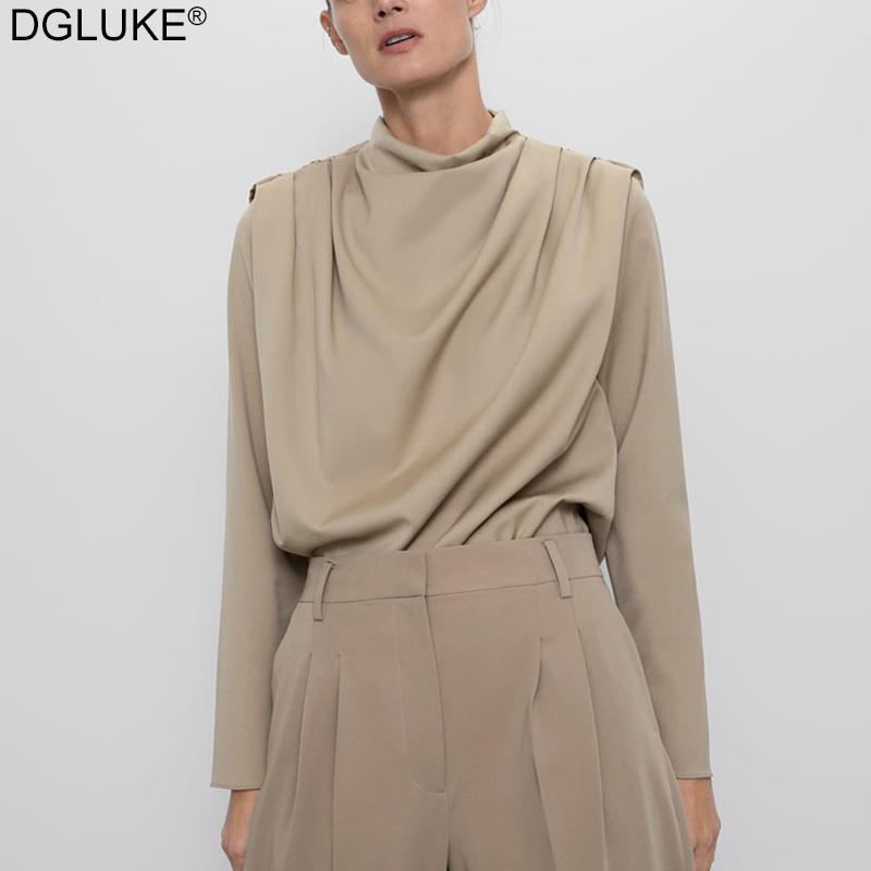 Dgluke Vintage Collier drapé Chemisier Femme 2021 Spring élégant Mesdames à manches longues Chemise occasionnelle Mode Style Office Tops Kaki
