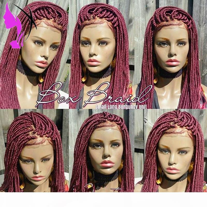 Caja trenzada sintética trenzas Pelucas delanteras de encaje de pelucas para mujeres negras Color Borgoña Resistente al calor Fiber Bebé Peluca trenzada