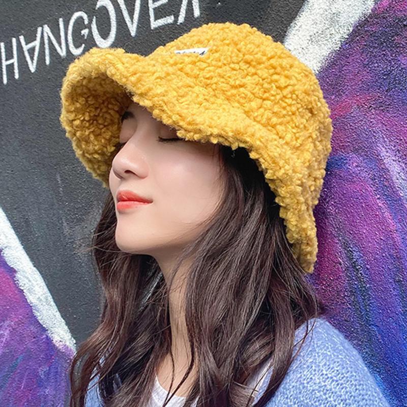 Frauen klassische Velvet Lamb Hüte Winter Herbst Plüsch Bucket Hat beiläufige Normallack-Pelz-Wolle Fleece Fluffy Fischer Caps